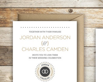 The Jordan —Simple, Elegant and Modern Wedding Invitation Set w/ Cool Icons, Arrows and Typography — DIY, Print at Home Wedding Suite!