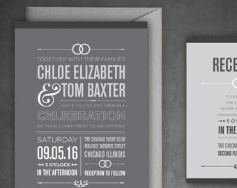 The Chloe — Gray, Black and White - Simple, Elegant & Modern Wedding Invitation Set w/ Cool Typography — DIY, Print at Home Wedding Suite!