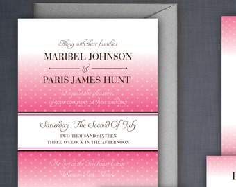 The Maribel - Wedding Invitation Suite With Polka Dot Background and Cool Typography - DIY Print at home—Customizable!