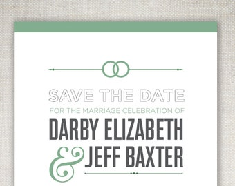 The Darby, Save The Date - Cool, Unique and Simple, Elegant and Modern — Print at Home - DIY! Traditional yet Modern Suite.
