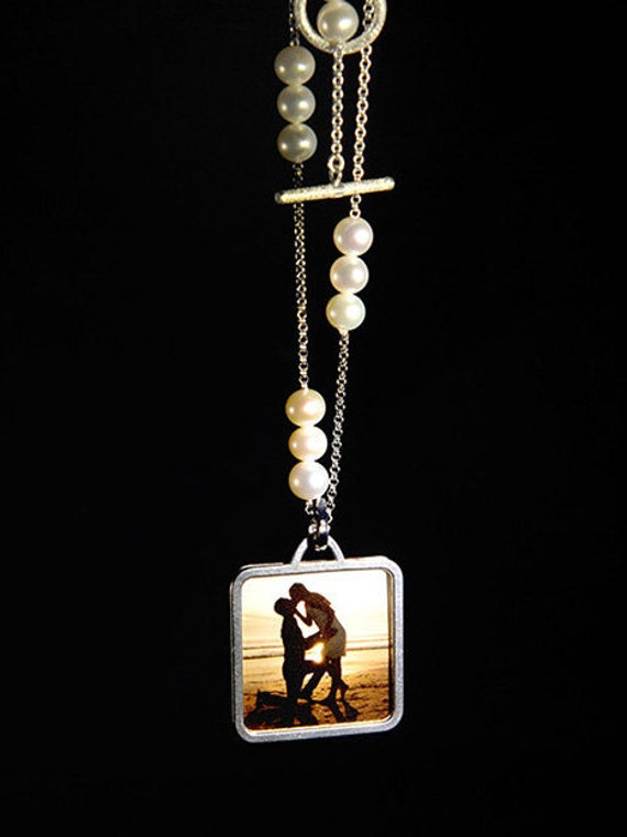 Love Photo Locket With Pearl & Silver Chain