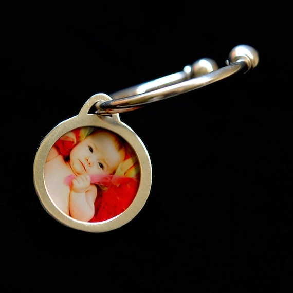 HEART Round Photo Locket With Sterling Silver Key Ring