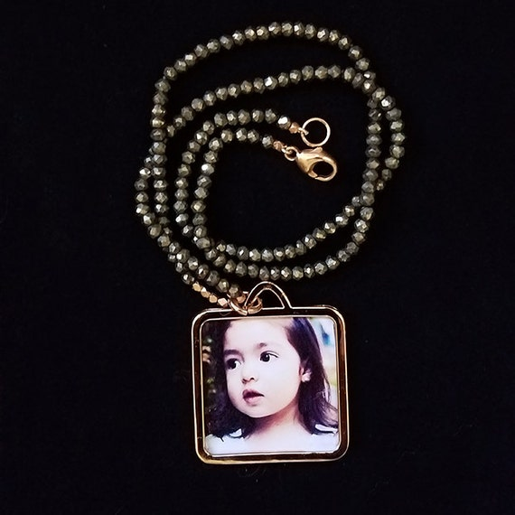 Rose Gold Vermeil Love Photo Locket With Smoked Quartz Chain and 14K Gold Accents