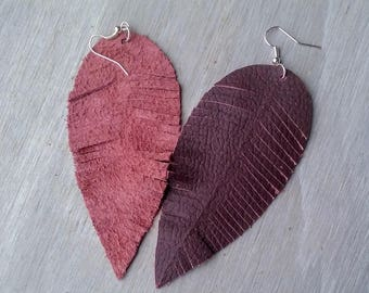 Plum/Pink Leather Feather Earrings,Large Earrings,Leather Earrings,Feather Earrings,Bohemian Earrings,Purple Earrings,Suede Earrings
