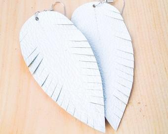 White Leather Feather Earrings,Large Earrings,Leather Earrings,Feather Earrings,Bohemian Earrings,Gypsy Earrings,Nature Earrings