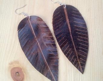 Brown Leather Feather Earrings,Large Earrings,Leather Earrings,Feather Earrings,Bohemian Earrings,Gypsy Earrings,Nature Earrings