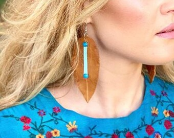 Tan & Turquoise Leather Feather Earrings,Large Earrings,Leather Earrings,Feather Earrings,Bohemian Earrings,Gypsy Earrings,Nature Earrings