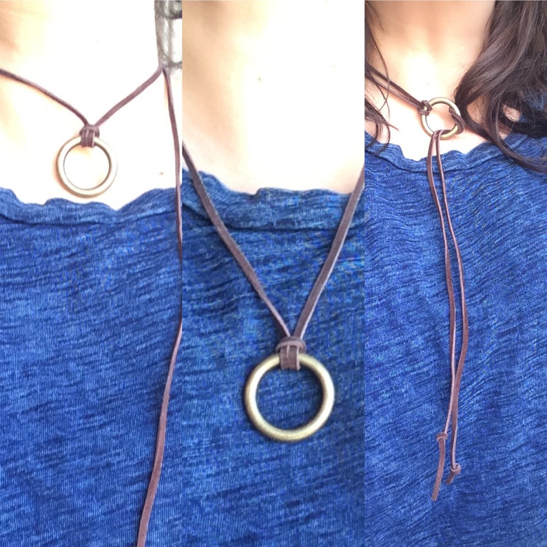 Leather choker necklace-3 in 1 necklace-wrap necklace-pendant necklace-wear three ways-gift for her-women\u2019s gift