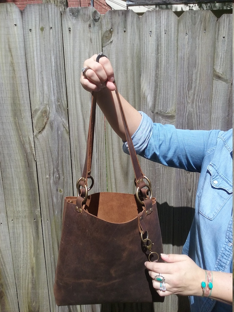 Monogram Add-On Option Leather Tote Bag- Leather Gift for Women Leather Purse Laptop Work /& Student Bag Tote with key fob