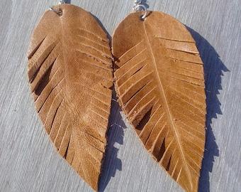 Tan Leather Feather Earrings,Large Earrings,Leather Earrings,Feather Earrings,Bohemian Earrings,Gypsy Earrings,Nature Earrings