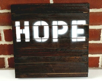 HOPE Wooden Home Decor Wall Hanging Sign Inspirational Quote