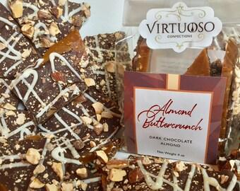 Almond Buttercrunch Toffee - 4oz  (113g) | English Toffee with Premium Belgian Callebaut Dark Chocolate | Gift