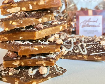 Almond Buttercrunch Toffee: 1 lb (16oz/454g) | English Toffee with Premium Belgian Dark Chocolate | Gift