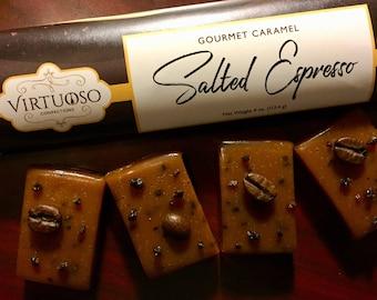 Salted Espresso: Gourmet Caramel Bar - 4oz (113g) | Salted Espresso Caramel | Gift