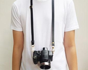 Black Minimalist Personalised Camera Strap Italian Leather Crossbody Custom Handmade Monogram Avaloncraft Skinny Strap