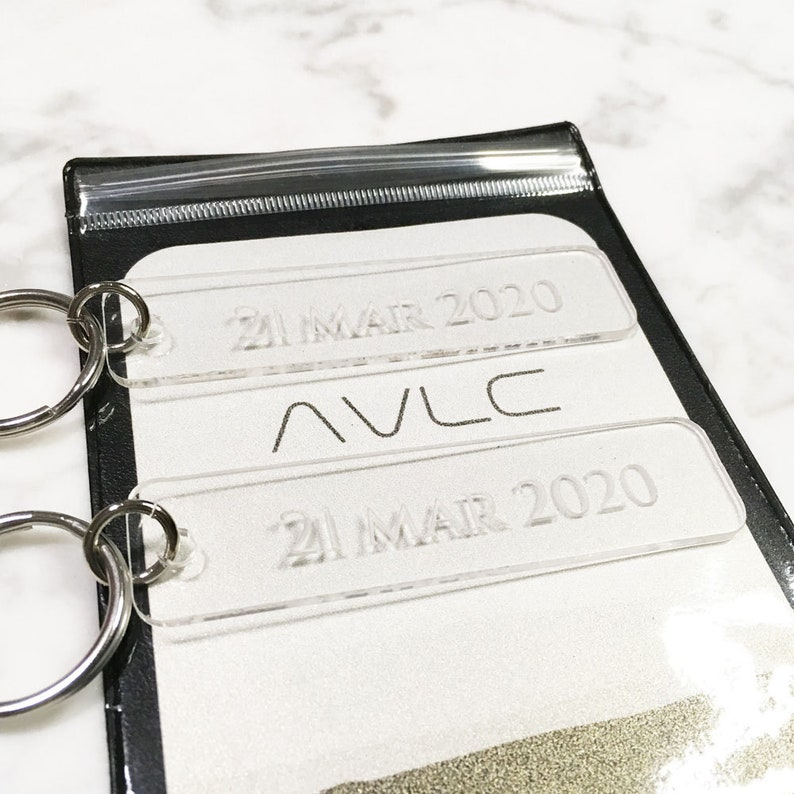 Gift Idea Anniversary date Graduation date Frosted Acrylic Keychain Key Tag Important dates Special Date Keyfob Wedding date