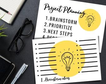 Printable Project Plan / Brainstorm / Ideas / Template