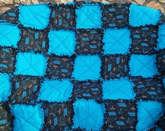 Carolina Panthers Ragged Quilt/ Handmade Gift/ NFL/ Throw