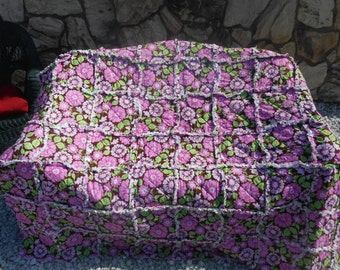 Chocolate Pink Flowers Throw Blanket/ Floral Print/ Quilts/Blankets/ Ragged Quilt/Chocolate & Pink/ Little Girls