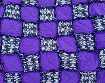 Baltimore Ravens NFL Football Ragged Quilt/The Real Color is Purple Blanket/Quilt/Throw/Handmade Gift