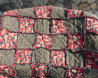 Yorki & Leopard Throw Blanket/ Quilts/Puppies/ Gift/ Animal Print/ Leopard Print/Dogs/ Ragged Quilt/ Ragged Blanket
