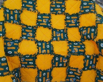 Green Bay Packers Ragged Quilt NFL/ Football blanket/ Handmade Gift/ Ragged Blanket *Disclosure in Description Box*