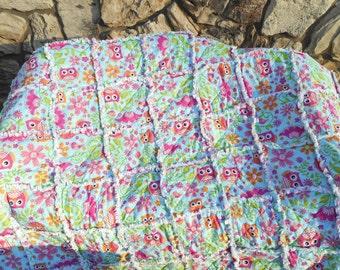 Owls & Flowers Throw blanket/ Owl Blanket/ owl quilt/Blanket gift/ youth blanket/ Youth Quilt /ragged Quilt