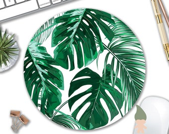 Tropical Leaf Mousepad - Mat - Round or Rectangle - Beautiful Design - Leaves Green with White Background - Mouse pad Co worker Gift