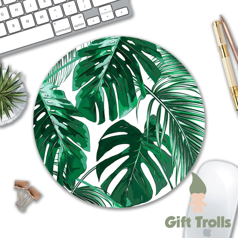 Tropical Leaf Mousepad  Mat  Round or Rectangle  Beautiful image 1