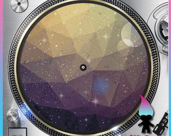 "Geometric Galaxy 1 Turntable Slipmat - 12"" LP Record Player, DJ Slipmat- 16oz Felt w/ Glazed Bottom Space - Galaxy Print - Stars - Moon"