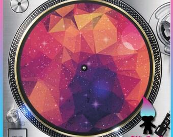 "Geometric Galaxy Design12 Turntable Slipmat - 12"" LP Record Player DJ Slipmat- 16oz Felt w/ Glazed Bottom Space Galaxy Print - Stars - Moon"