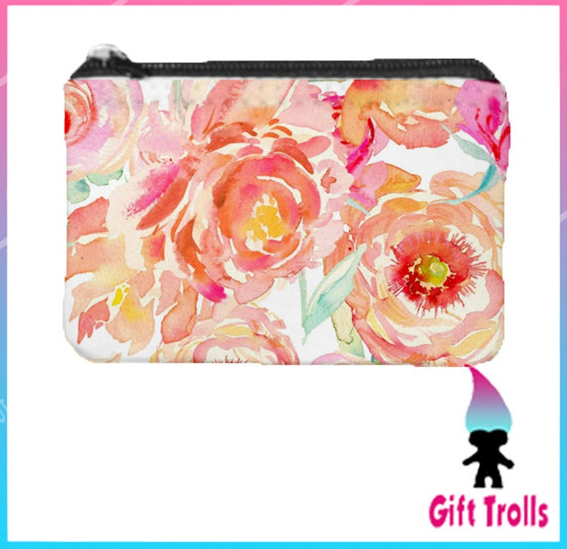 Change Purse Chic Purse Floral Print Coin Purse Peach Peony Watercolor Flowers Teacher Gift CoWorker Gift