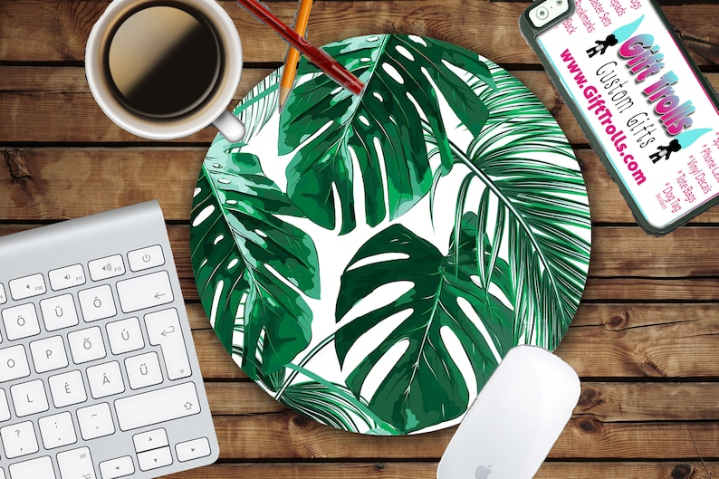 Tropical Leaf Mousepad  Mat  Round or Rectangle  Beautiful image 0
