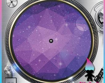 "Geometric Galaxy Design2 Turntable Slipmat - 12"" LP Record Player DJ Slipmat- 16oz Felt w/ Glazed Bottom Space - Galaxy Print - Stars - Moon"