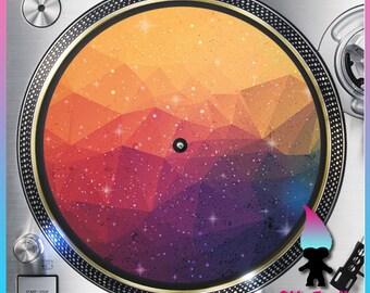 "Geometric Galaxy Design9 Turntable Slipmat - 12"" LP Record Player DJ Slipmat- 16oz Felt w/ Glazed Bottom Space - Galaxy Print - Stars - Moon"