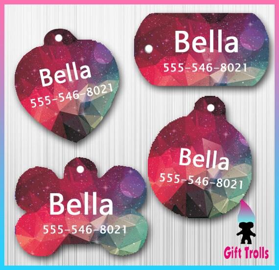 Rose - violet - turquoise Galaxy géométrique Pet ID Tag - chien ou chat Tag - personnalisé - chiot Etiquettes - chien ID - Tag pour animaux de compagnie - chat - mignon