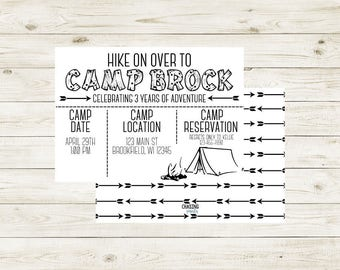 CAMP   Camp Out Invitation   Camp Out   Camp Out Theme Birthday   Camp Out Theme Birthday Invitation   Camp Out Birthday Invitation   Camp