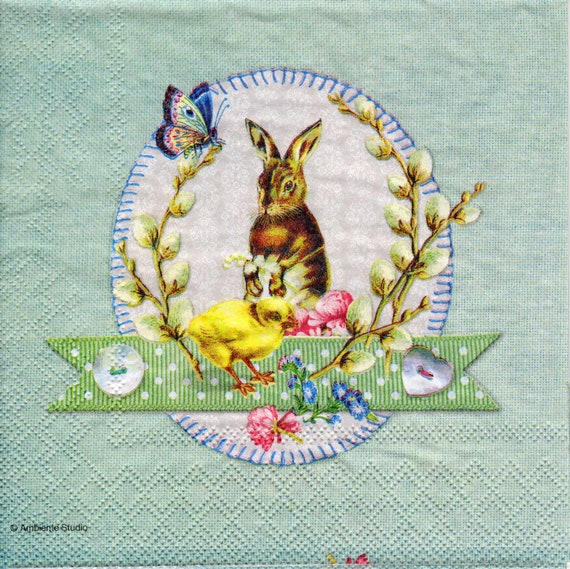 decoupage napkins- collage tissue napkin- art 4 x single paper napkins Little Friends scrap booking paper 33 x 33 cm New Sweet bunny