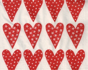 Paper Napkins for Decoupage Lot of Love Hearts Red White (3x Napkins) - ideal for Decoupage, Collage, Mixed Media, Crafts