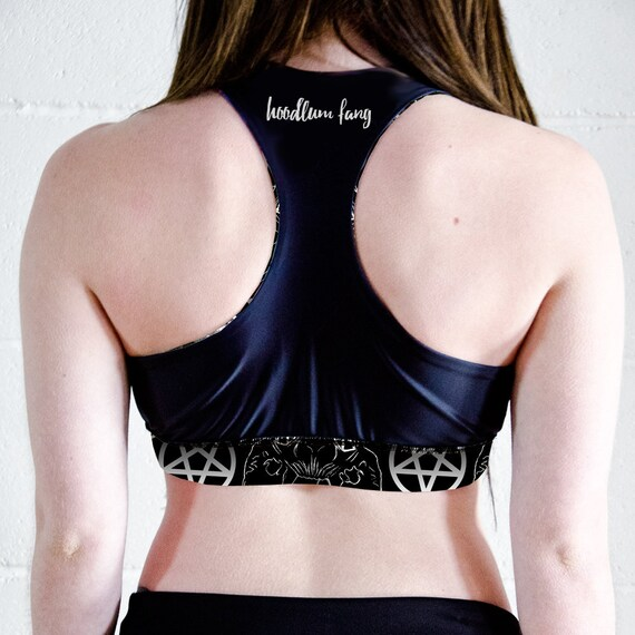 Sports Bra Gym Top Goth Sports Bra Fitness Top Bastet Sphynx Cat Occult Racer Back Crop Top Workout Top Pole Fitness Top