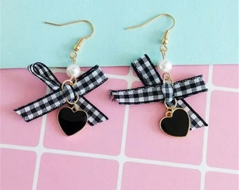 mini ribbon bow heart earrings