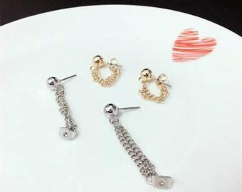 gold, silver chain stud earrings