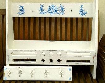 francais pays mur etageres serviette rack crochets cuisine salle de bain douche salle a la main peinte vintage unique floral rose motifs rangement affichage