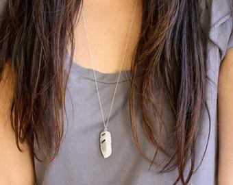Leaf necklace, silver leaf necklace, long silver necklace, long necklace with pendant, silver feather pendant, necklace,  Boho necklace
