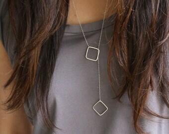 Silver square lariat, silver square necklace, long silver necklace, sterling silver square necklace, long necklace silver geometric necklace