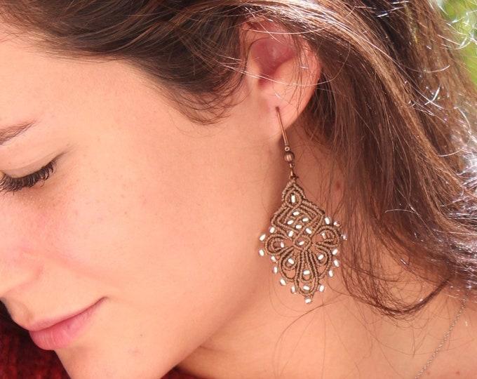 Earrings Bohemians MIA PROVENCE micro-macrame, hippie chic, Oriental, boho chic