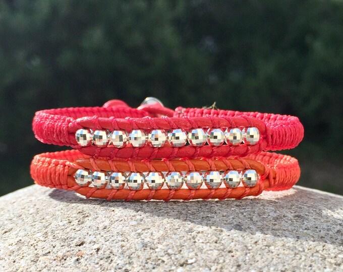 Bracelet mixte homme et femme en cuir et perles boules à facettes en argent 925 création originale MIA PROVENCE, cool chic, hippie boho chic