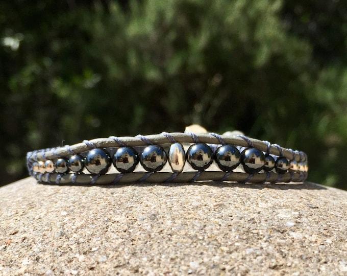 Bracelet homme en cuir et perles argent et hématites création MIA PROVENCE, cool chic, sexy chic, boho chic