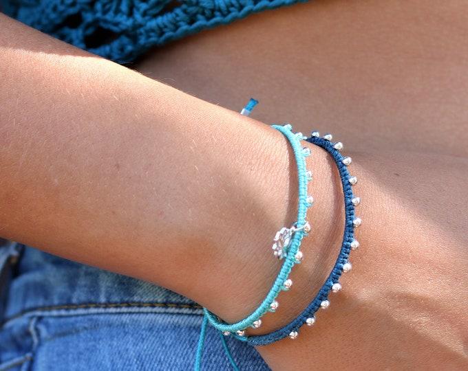 Bracelet MIREILLE en micro-macramé et perles en argent 925 style glam rock, hippie, bohème chic, réglable