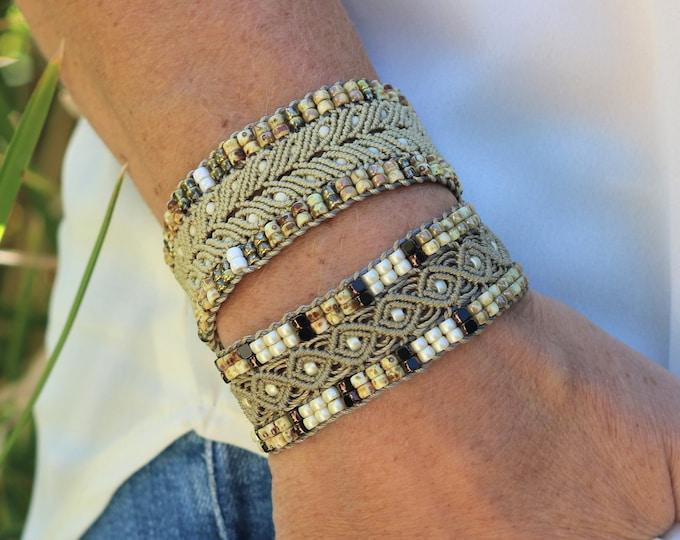 Bracelet L'Aubagnais : bijou bohème pour femme vert kaki en micro-macramé, création exclusive MIA PROVENCE, cool chic, hippie chic